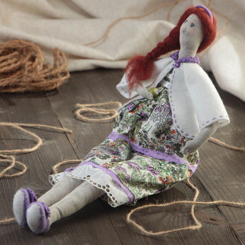 Handmade designer cotton and linen fabric soft doll in dress with floral pattern