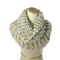 Chunky Cowl, Outlander Inspired Cowl, Claire Inspired, Hand Knit Cowl, Oatmeal,  Infinity Scarf, it Scarf, Scarf,  Winter Scarf