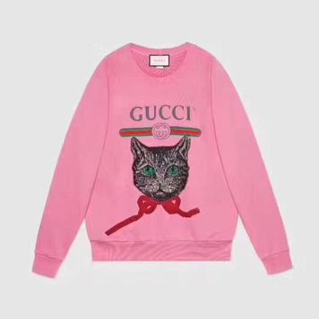"""""""Gucci"""" Women Casual Letter Print Embroidery Sequin Bow Cat Head Long Sleeve Pullover Sweater Tops"""