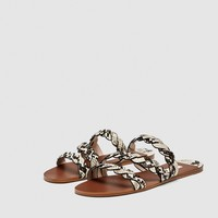 SANDALS WITH BRAIDED ANIMAL PRINT STRAPS - NEW IN-WOMAN | ZARA United States