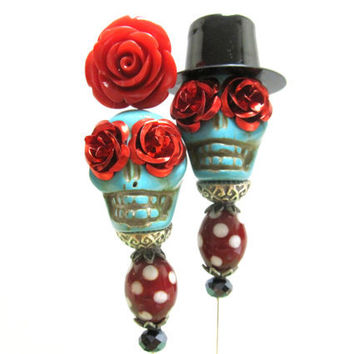 Day of the Dead Cake Topper Gothic Wedding Sugar Skull Lapel Pin Hat Pin Bride & Groom - Rockabilly Sweeties