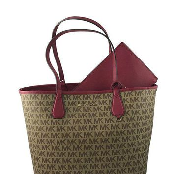 DCCKUG3 Michael Kors Candy Large Signature PVC Reversible Tote Bag in Beige/ Ebony/Cherry