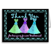 CUSTOM - THANK YOU Junior Bridesmaid with Dresses Greeting Card