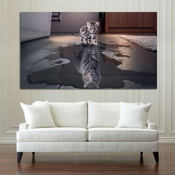 HD Print Cute Animals Posters Cat Reflection Tiger Art Canvas Wall Painting Unique Design Wall Picture For Home Decoration
