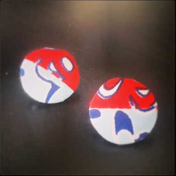 Big Button Earrings made with Colorful Red & Blue Nigerian Fabric