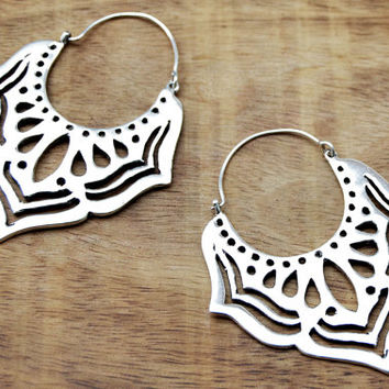 Tribal Lotus Earrings, Silver Hoop Earrrings, Large Earrings, Gypsy Earrings, Indian Earrings, Bohemian Earrings, Ethnic Earrings