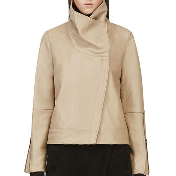 Helmut Lang Beige Leather Petal Jacket
