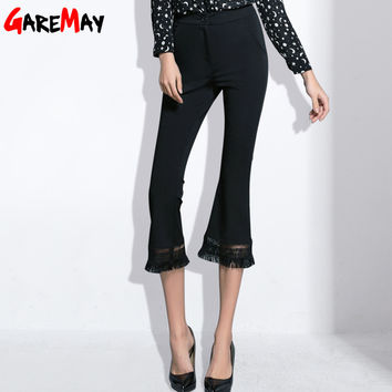 Flare Pants Capri For Women 2017 Spring Work Pants Black Lace Tassel Stretch Work Trousers Calf-length Pantalones Mujer GAREMAY