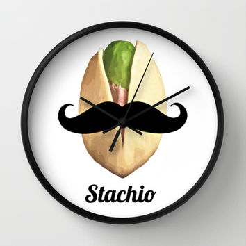Stachio Wall Clock by Dodecahedron Designs | Society6