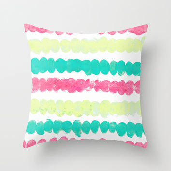 Pastel Finger Print, Mint, Pink, & Yellow Throw Pillow by TigaTiga Artworks