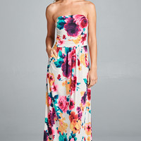 Tequila Sunrise Floral Maxi Dress
