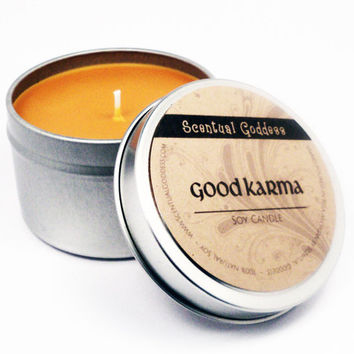 GOOD KARMA CANDLE - Peaceful Zen Eastern Scent - Great for Meditation When You're Working on Clearing Old Karma and Creating New Good Karma