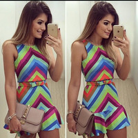 Round-neck Sleeveless Stripes Shaped Sexy Women's Fashion Hot Sale One Piece Dress [4919142852]