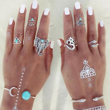 MDIGHY9 8pcs/Pack Boho Retro Elephant Snake Blue Turquoise Rings Lucky Stackable Midi Rings Set of Rings for Women Party Free Shipping
