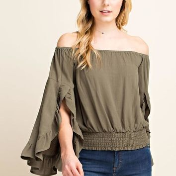 Off the Shoulder Ruffle Sleeve Top with Smocked Waist - Olive