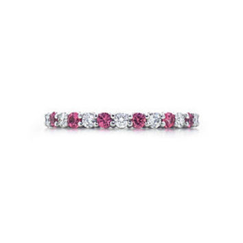 Tiffany & Co. -  Shared-setting band ring with diamonds and sapphires in platinum, 2.2mm wide.