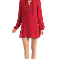 LACE-UP LONG SLEEVE DRESS - RED