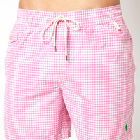 Pink | Polo Ralph Lauren Pink Gingham Swim Shorts at ASOS
