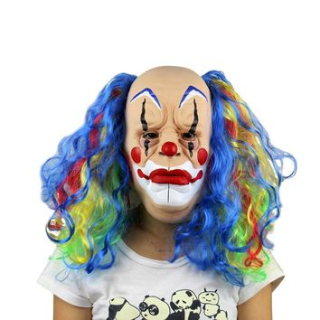 Clown Full Mask Latex  Adult Scary Realistic Cosplay Masquerade Halloween