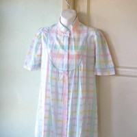 Pink/Aqua Pastel Plaid Robe w/ Turquoise Embellishment; Women's Small, Cotton Blend 1980's Vintage House Coat; U.S. Shipping Included
