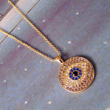 Necklace 064: Turkey Eye Necklace, Beauty Eye Necklace, Evil Eye Necklace, Charm Jewelry Necklace