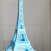 Blue Paris Eiffel Tower Cake Topper