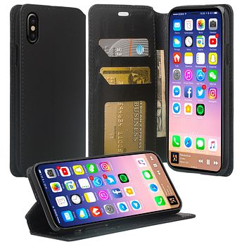 Apple iPhone XR Case, Apple A1984 Case, Faux Leather Magnetic Flip Fold [Kickstand] Protective Wallet Case Cover - Black