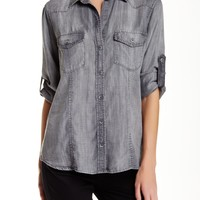 Long Sleeve Fitted Woven Shirt