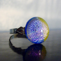 Blue and Yellow - Authentic Dichroic Glass Ring - Fused Glass - Jewelry - Cocktail Ring - Bling Ring - Dinner Ring - Statement Jewelry