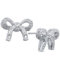 Tressa Sterling Silver White Cubic Zirconia Encrusted Bow Stud Earrings .925 Stamp Hypoallergenic
