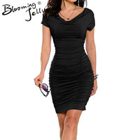 Blooming Jelly Cowl Neck Ruched Draped Dress Fashion Black Women Work Dress Bodycon Business Office Elegant Stretch 2016 Summer