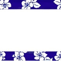 Flowers Blue Plastic License Plate Frame