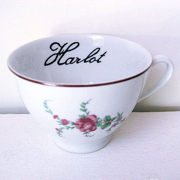 Teacup - Victorian Inspired - Hand Painted Tea Cup - Harlot