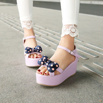 Platform Sandals Women Pumps Polka Dot Bowtie Ankle Straps Wedges Shoes Woman 3451