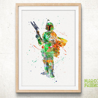 Bounty Hunter - Watercolor, Art Print, Home Wall decor, Kids Gift, Watercolor Print, Star Wars Poster
