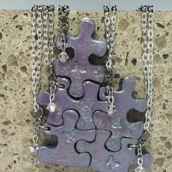 Puzzle Piece Necklace Set  of 5 Bridesmaid or Best Friend Pendants Polymer Clay with Swarovski Crystal elements Made To Order