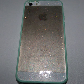 Mint Green iridescent Glitter Iphone 5 5s 4 4s 5c 6 6plus Samsung S3 S4 S5 Phone Case cover, Glittery Sparkly bling cover Real glitter Resin