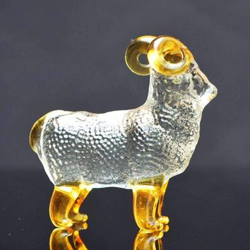 Crystal Goat Glass Miniature Figurine