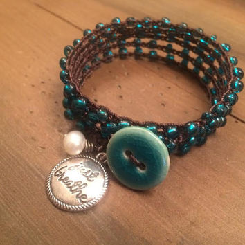 Just Breathe, Crochet Wrap Bracelet, Turquoise Teal Lovers, Boho and Country Girl