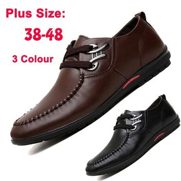 Luxury Brand Men's Fashion Casual Business Genuine Leather Shoes italian designer male Soft Driving Shoes Plus Size 38-48
