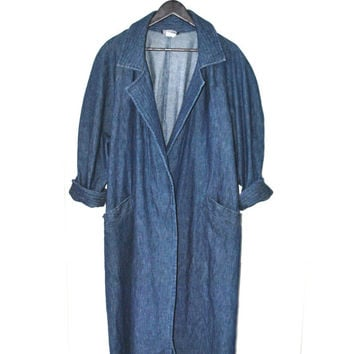 long denim duster jacket vintage 1980s full length jean jacket minimalist relaxed fit batwing open jacket os
