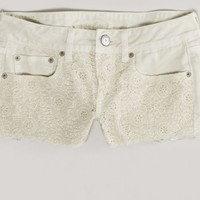 AEO 's Crocheted Denim Shortie (Cream)