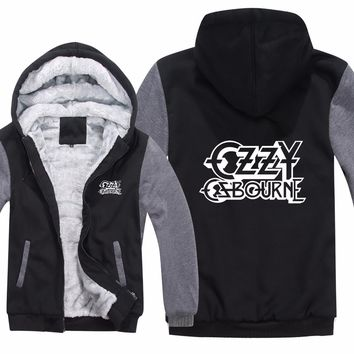 Winter Ozzy Osbourne Hoodies Sweatshirt Men Casual Punk Rock Warm Liner Men Fleece Sweatshirt Jacket