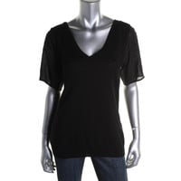 Nanette Lepore Womens V-Neck Short Sleeves Pullover Sweater