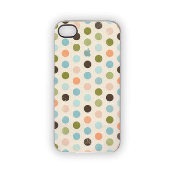 Polka Dots iPhone Case 5 4S 4 Blue Apple Shabby Chic Green Pink Brown Natural Ivory Circles Spots Vintage Retro Feel