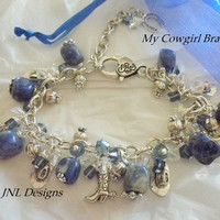 "Denim Sodalite and Crystal  ""Cowgirl"" Adjustable Charm Bracelet.Cowgirl Theme Charm Bracelet.Blue Jeans Accessory for Her."