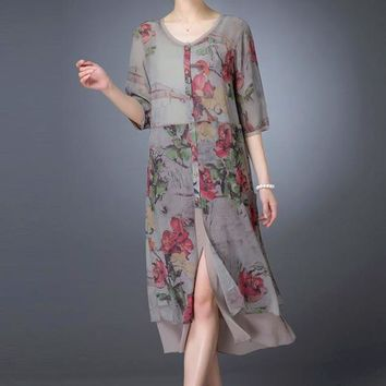 Casual printed spring summer long silk chiffon dress - Plus Sizes