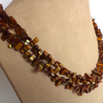 Extra Long Gold Brown Shell Pearl Necklace