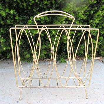 Mid Century Modern Brass Atomic Magazine Record Album Organizer Rack Footed Stand