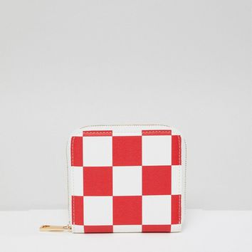 ASOS DESIGN Checkerboard Zip Around Purse at asos.com